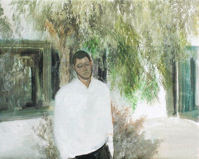 2015 Autorretrato en el set (con cabeza moderna) 27x22 cm óleo sobre tela