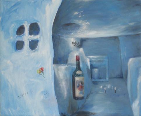 2014 ST (Cueva, hielo, botella) 45x38 cm óleo sobre tela